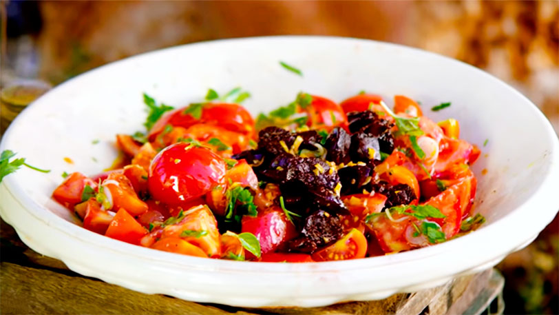The best Tomato Salad and Chorizo